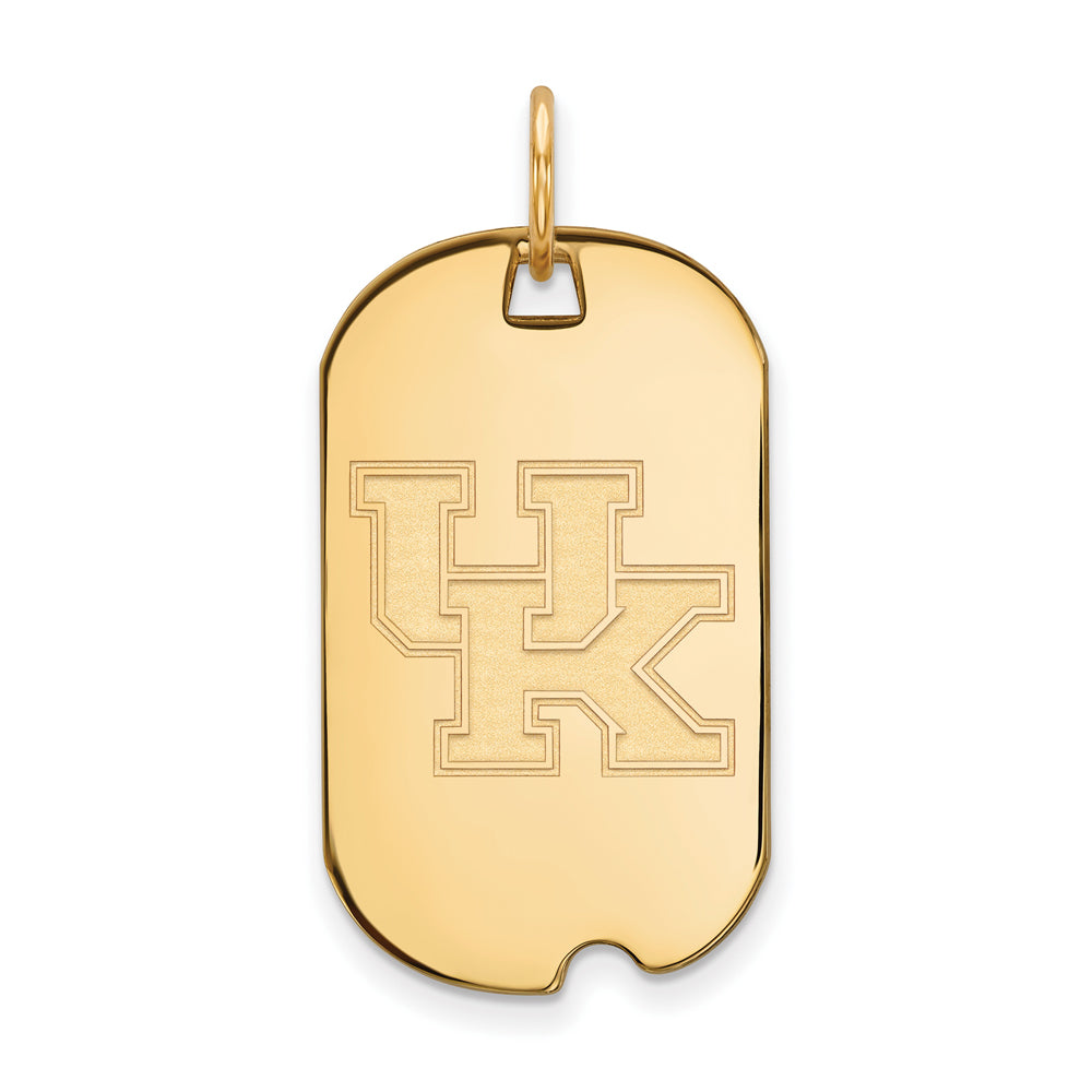 NCAA 14k Gold Plated Silver U. of Kentucky Dog Tag Pendant, Item P20913 by The Black Bow Jewelry Co.