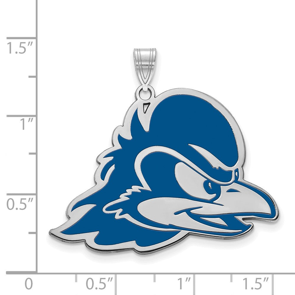 Alternate view of the NCAA Sterling Silver U of Delaware XL Enamel Pendant by The Black Bow Jewelry Co.