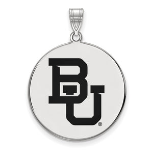 NCAA Sterling Silver Baylor U XL Enamel Disc Pendant - The Black Bow Jewelry Co.