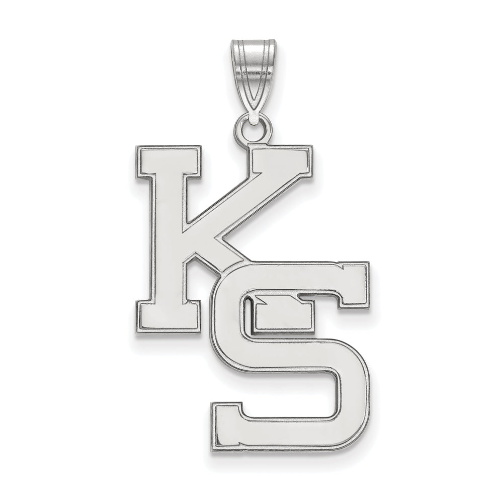 NCAA 10k White Gold Kansas State XL Pendant, Item P21642 by The Black Bow Jewelry Co.