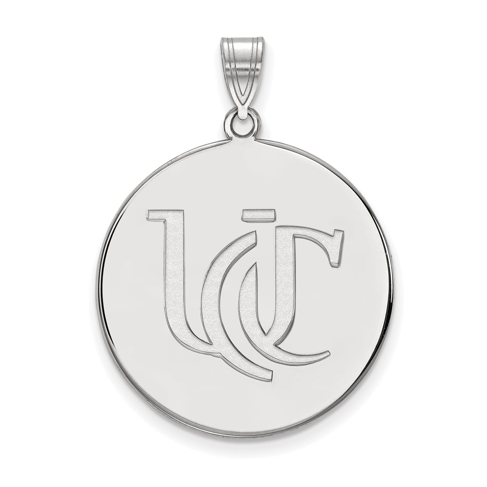 NCAA 10k White Gold U of Cincinnati XL Disc Pendant, Item P21652 by The Black Bow Jewelry Co.