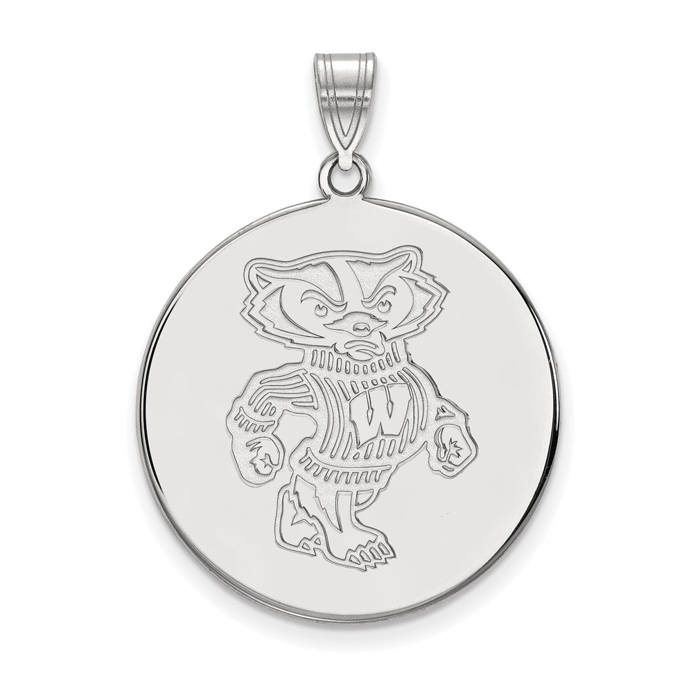 NCAA 10k White Gold U. of Wisconsin XL Disc Pendant, Item P21702 by The Black Bow Jewelry Co.