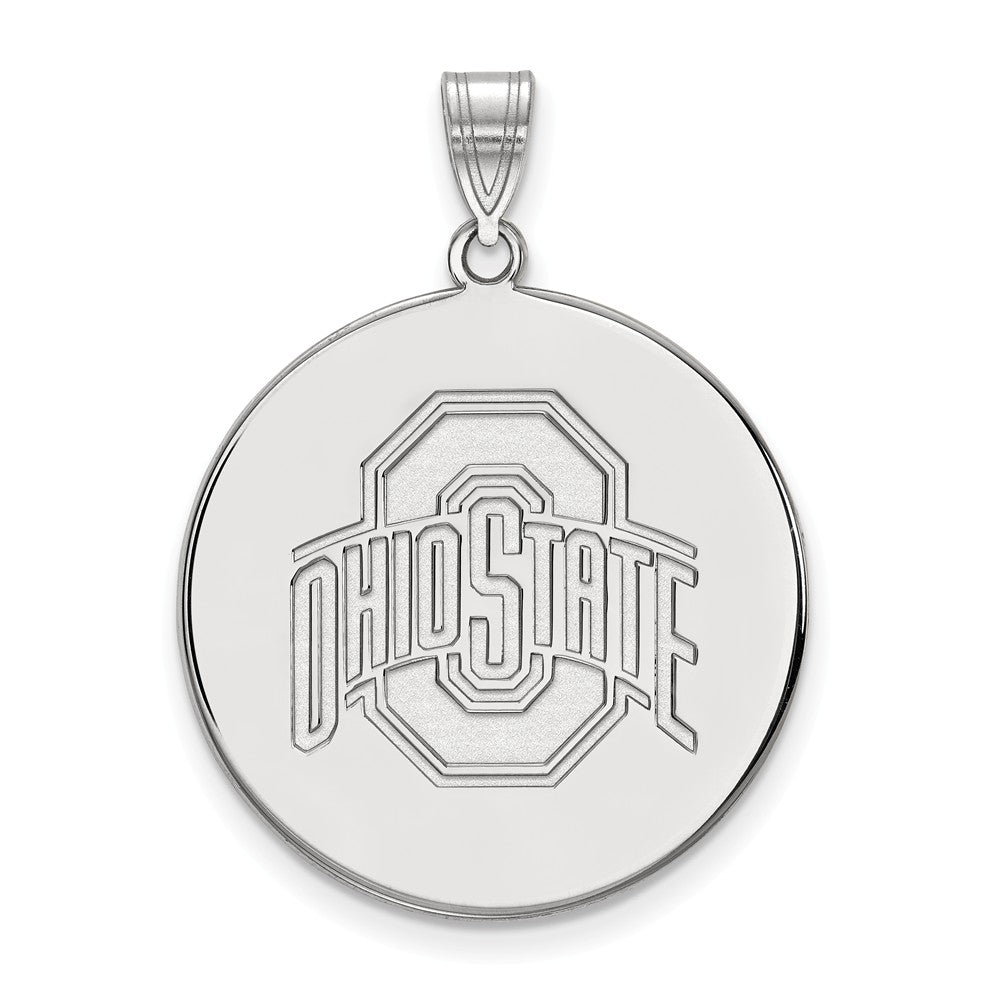 NCAA 10k White Gold Ohio State XL Disc Pendant, Item P21704 by The Black Bow Jewelry Co.