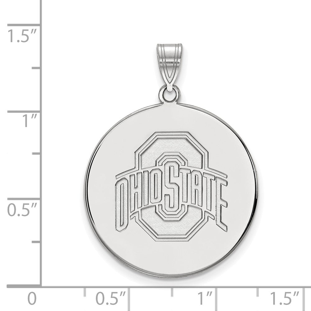 Alternate view of the NCAA 10k White Gold Ohio State XL Disc Pendant by The Black Bow Jewelry Co.