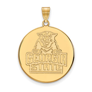 NCAA 10k Yellow Gold Georgia State XL Disc Pendant - The Black Bow Jewelry Co.