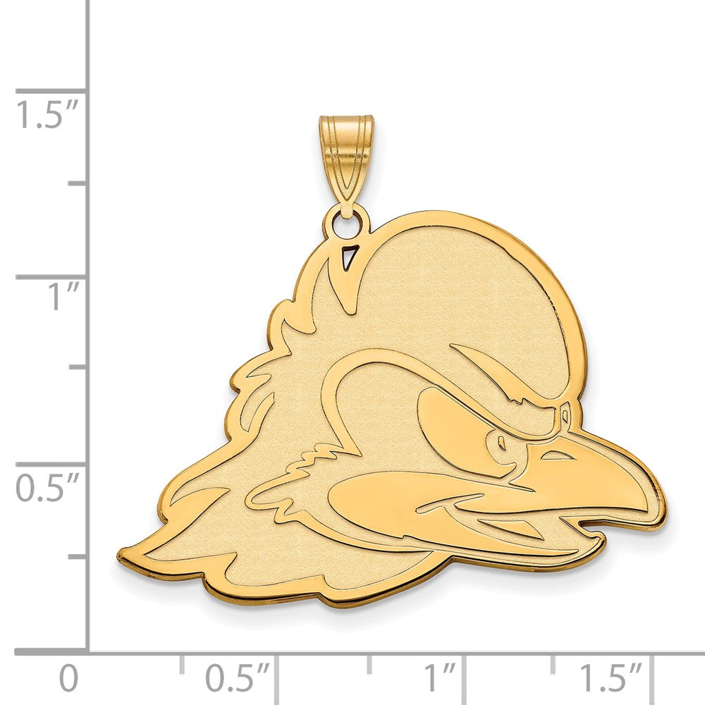 Alternate view of the NCAA 14k Yellow Gold U of Delaware XL Pendant by The Black Bow Jewelry Co.