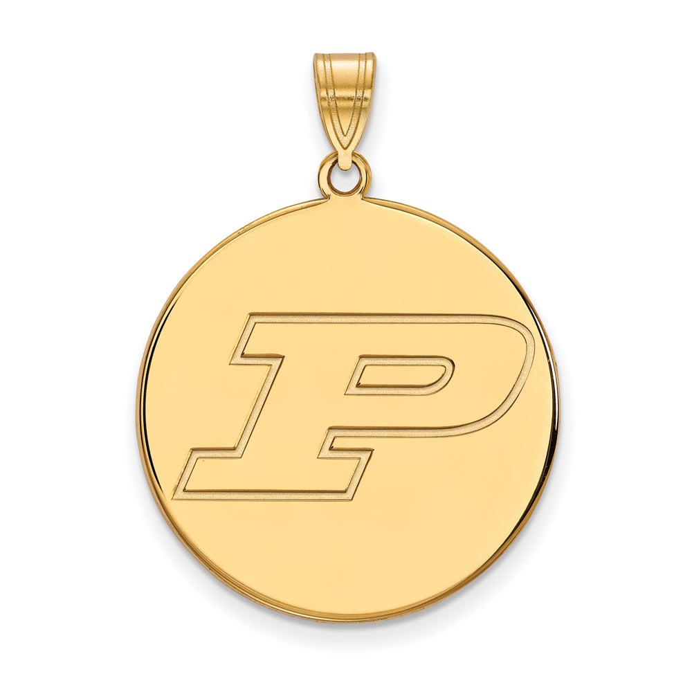 NCAA 14k Gold Plated Silver Purdue XL Disc Pendant, Item P22366 by The Black Bow Jewelry Co.