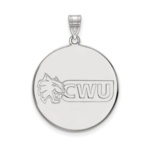 NCAA Sterling Silver Central Washington U XL Disc Pendant - The Black Bow Jewelry Co.