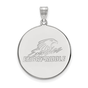 NCAA Sterling Silver Embry-Riddle XL Disc Pendant - The Black Bow Jewelry Co.