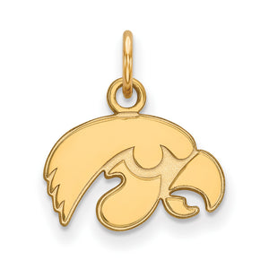 NCAA 10k Yellow Gold U. of Iowa XS Pendant - The Black Bow Jewelry Co.