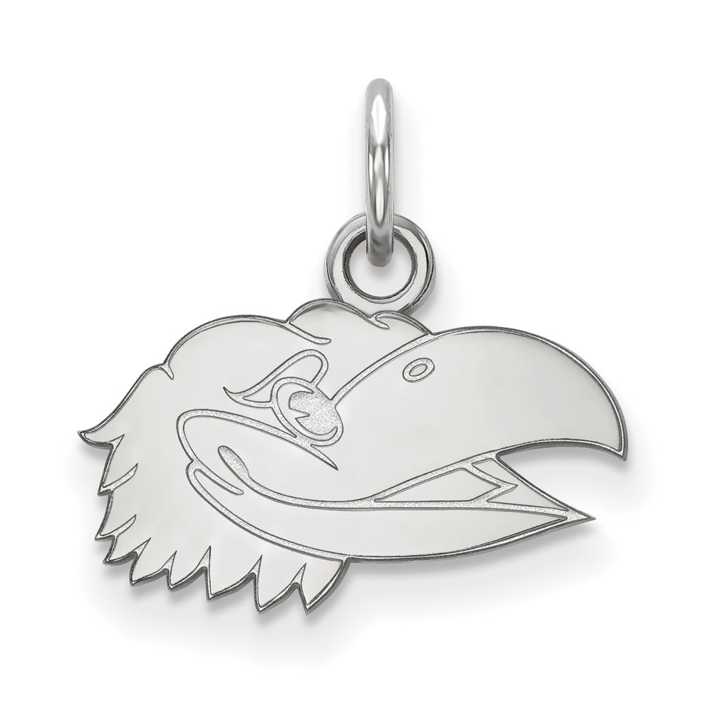 NCAA 14k White Gold U. of Kansas XS Charm or Pendant, Item P22977 by The Black Bow Jewelry Co.