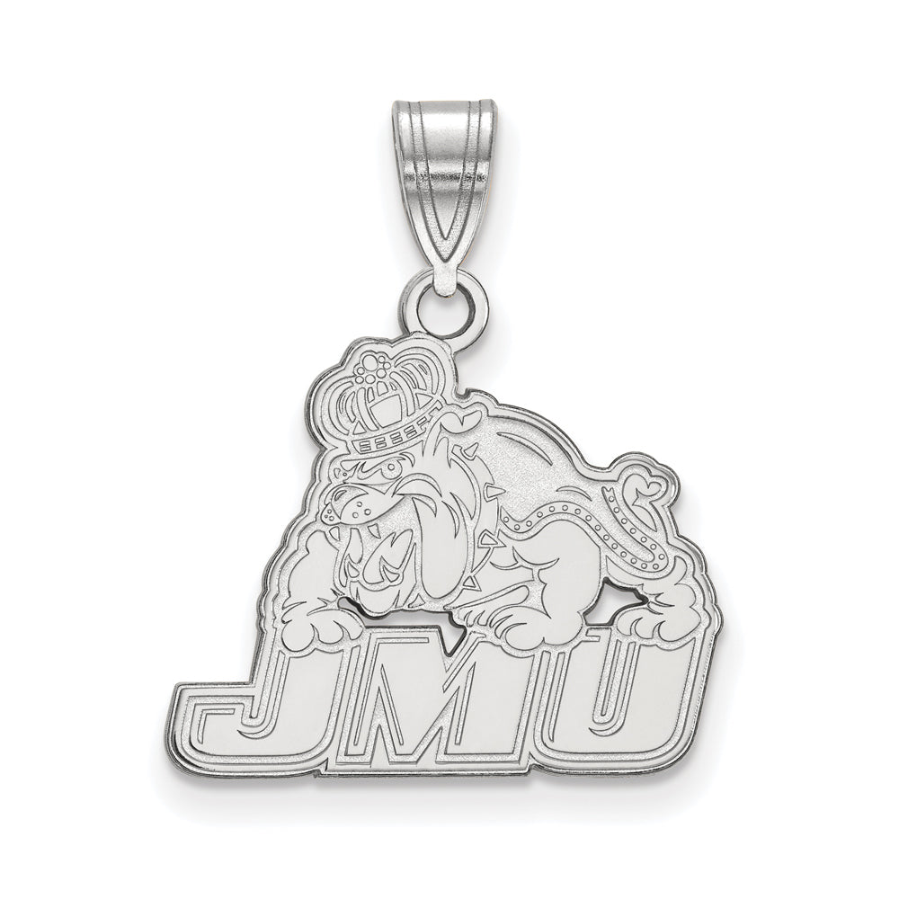 10k White Gold James Madison U Medium Pendant, Item P23336 by The Black Bow Jewelry Co.