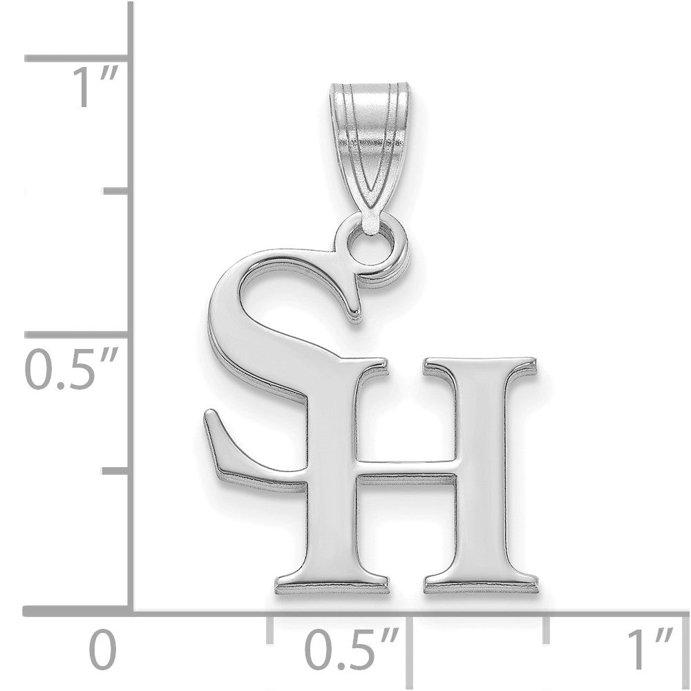 Alternate view of the 10k White Gold Sam Houston State Medium Pendant by The Black Bow Jewelry Co.