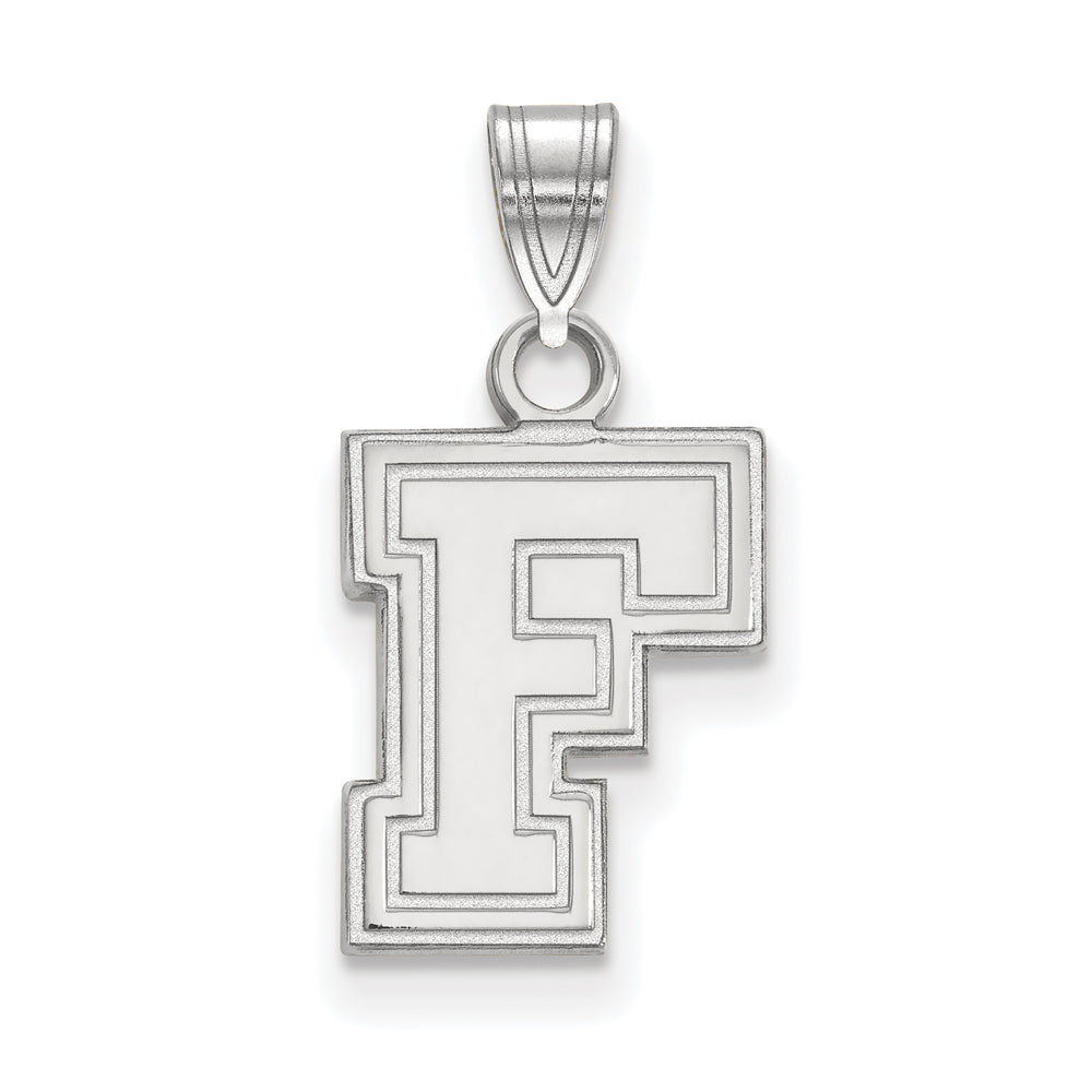 10k White Gold Fordham U Small Pendant, Item P23376 by The Black Bow Jewelry Co.