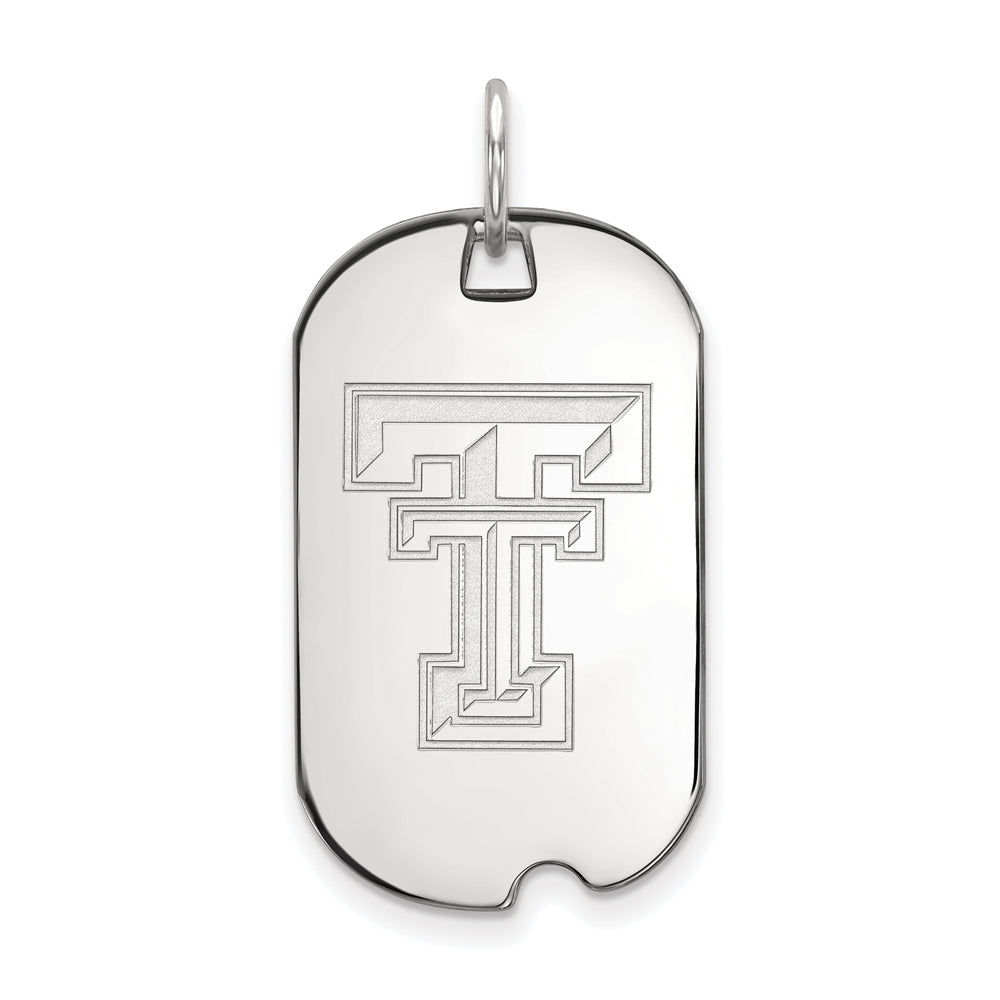 10k White Gold Texas Tech U. Dog Tag Pendant, Item P23465 by The Black Bow Jewelry Co.