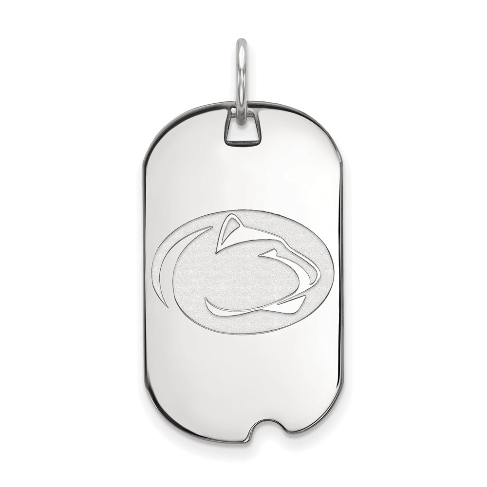 10k White Gold Penn State Dog Tag Pendant, Item P23472 by The Black Bow Jewelry Co.