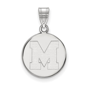 NCAA 10k White Gold U. of Memphis Medium Pendant - The Black Bow Jewelry Co.