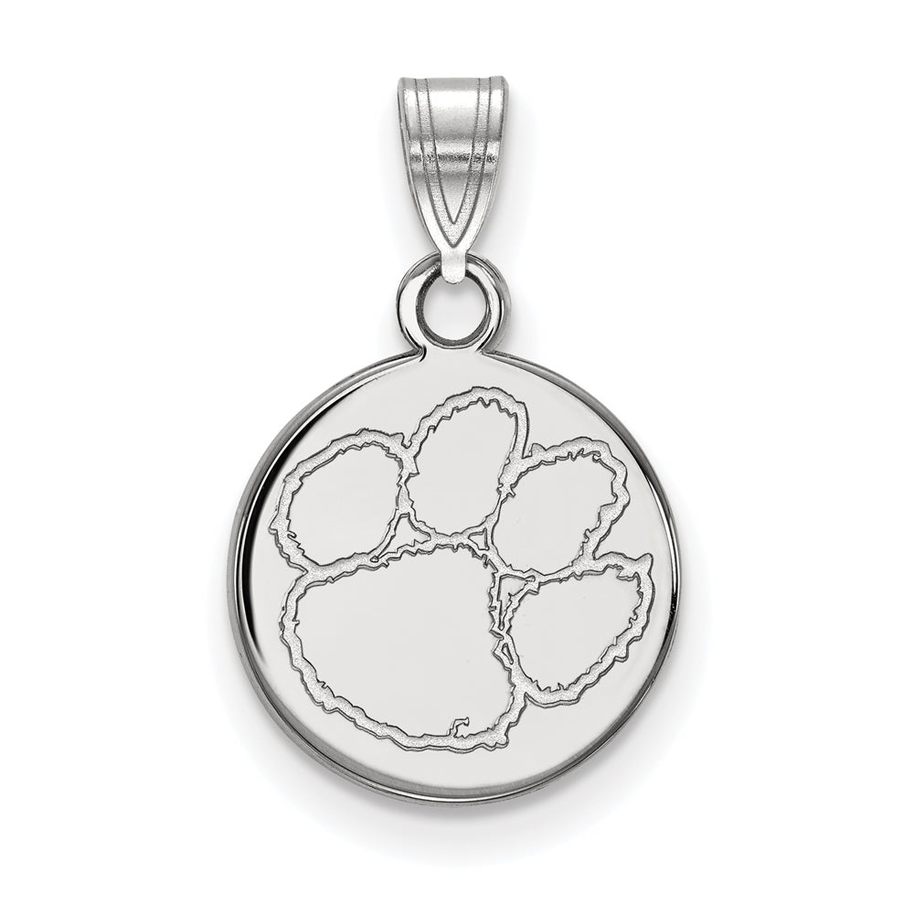 10k White Gold Clemson U Small Disc Pendant, Item P23491 by The Black Bow Jewelry Co.