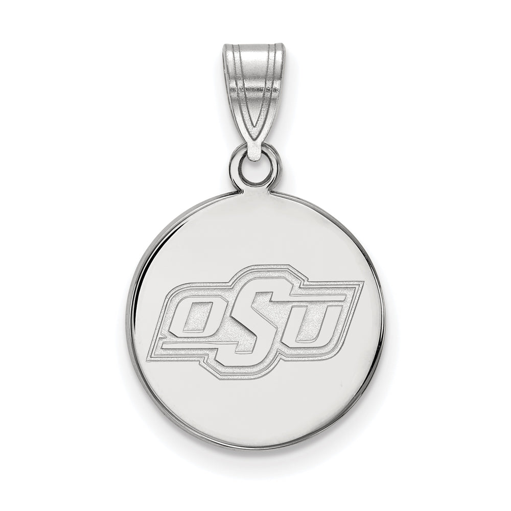 10k White Gold Oklahoma State Medium Disc Pendant, Item P23495 by The Black Bow Jewelry Co.