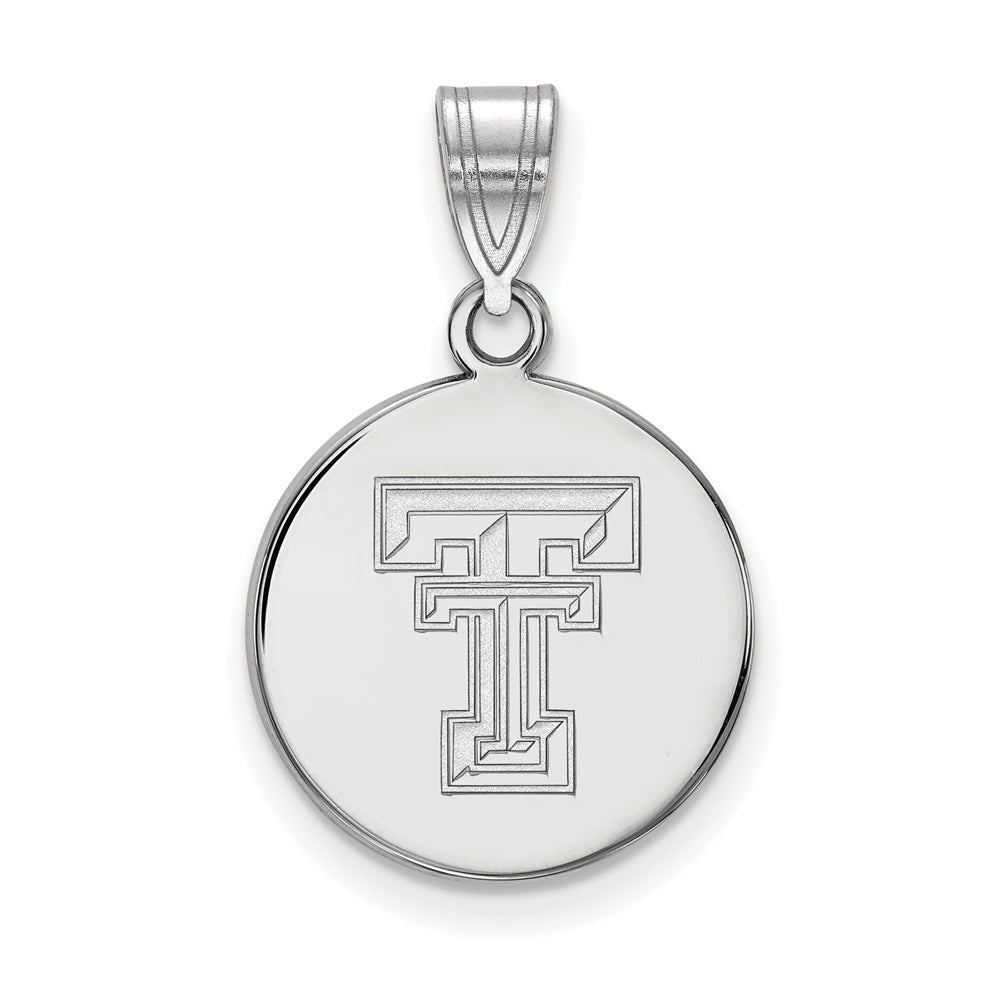 10k White Gold Texas Tech U. Medium Disc Pendant, Item P23502 by The Black Bow Jewelry Co.
