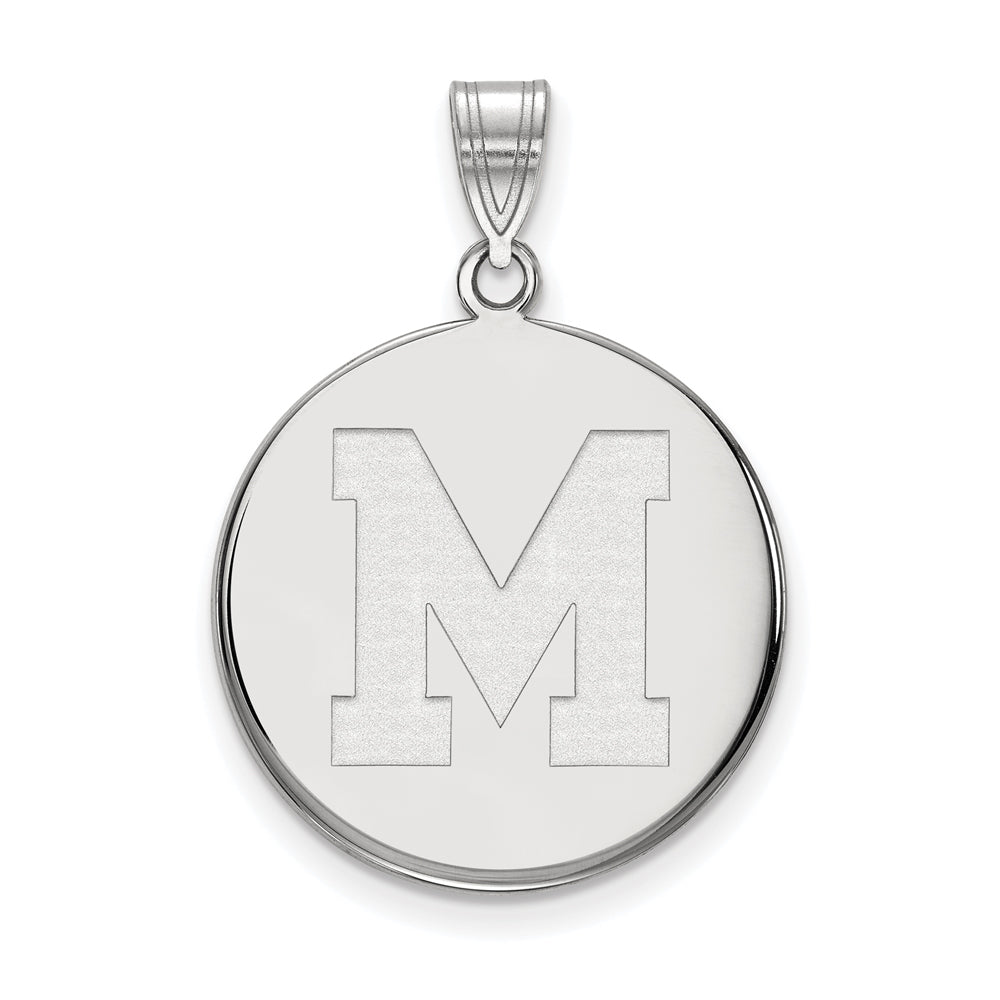 10k White Gold U. of Memphis Large Initial M Disc Pendant, Item P23520 by The Black Bow Jewelry Co.