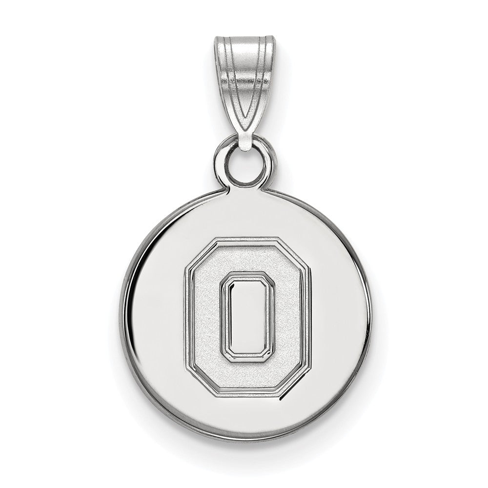10k White Gold Ohio State Small 'O' Disc Pendant, Item P23609 by The Black Bow Jewelry Co.