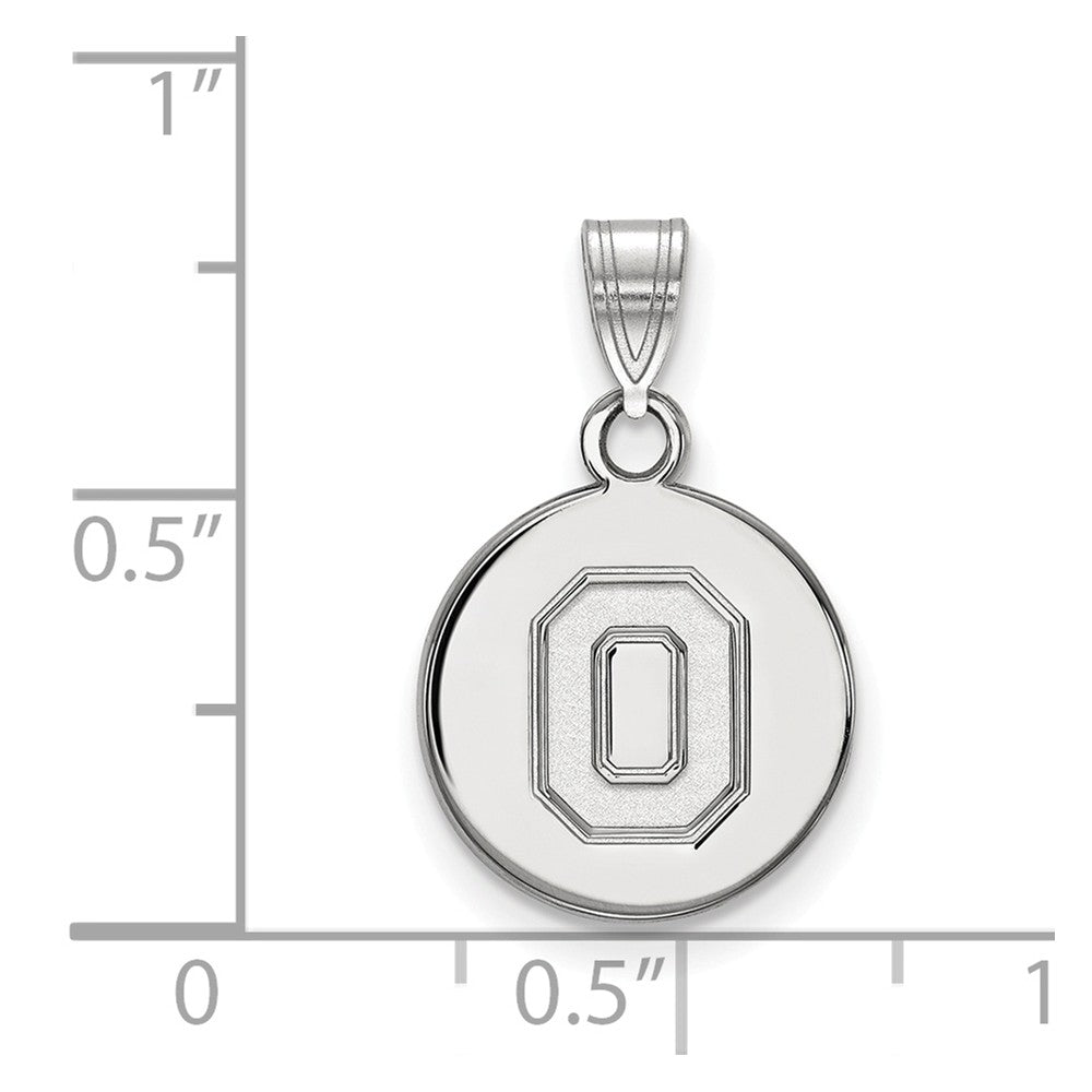 Alternate view of the 10k White Gold Ohio State Small 'O' Disc Pendant by The Black Bow Jewelry Co.