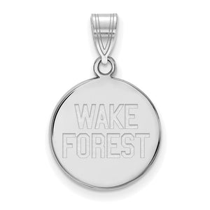 NCAA 10k White Gold Wake Forest U. Medium Disc Pendant - The Black Bow Jewelry Co.