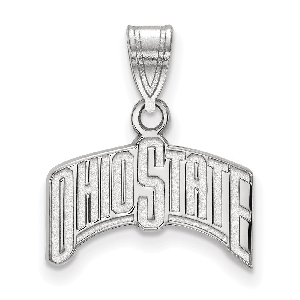 NCAA 10k White Gold Ohio State Medium Pendant, Item P23641 by The Black Bow Jewelry Co.
