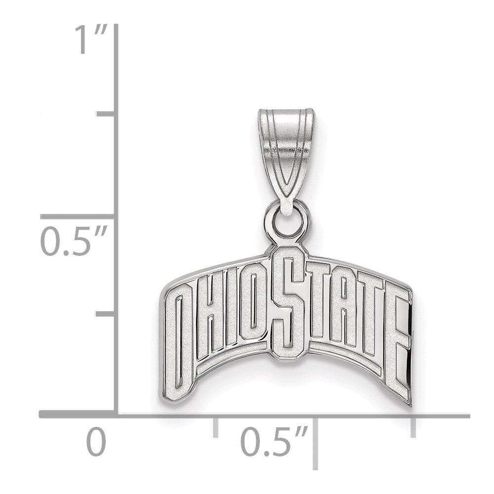 Alternate view of the NCAA 10k White Gold Ohio State Medium Pendant by The Black Bow Jewelry Co.