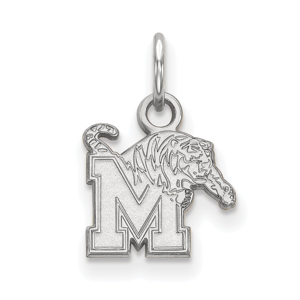 14k White Gold U. of Memphis XS (Tiny) Logo Charm or Pendant, Item P23739 by The Black Bow Jewelry Co.