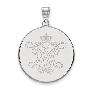 NCAA 14k White Gold William and Mary XL Disc Pendant - The Black Bow Jewelry Co.
