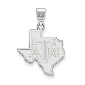 NCAA 14k White Gold Texas A&M U. Large Pendant - The Black Bow Jewelry Co.
