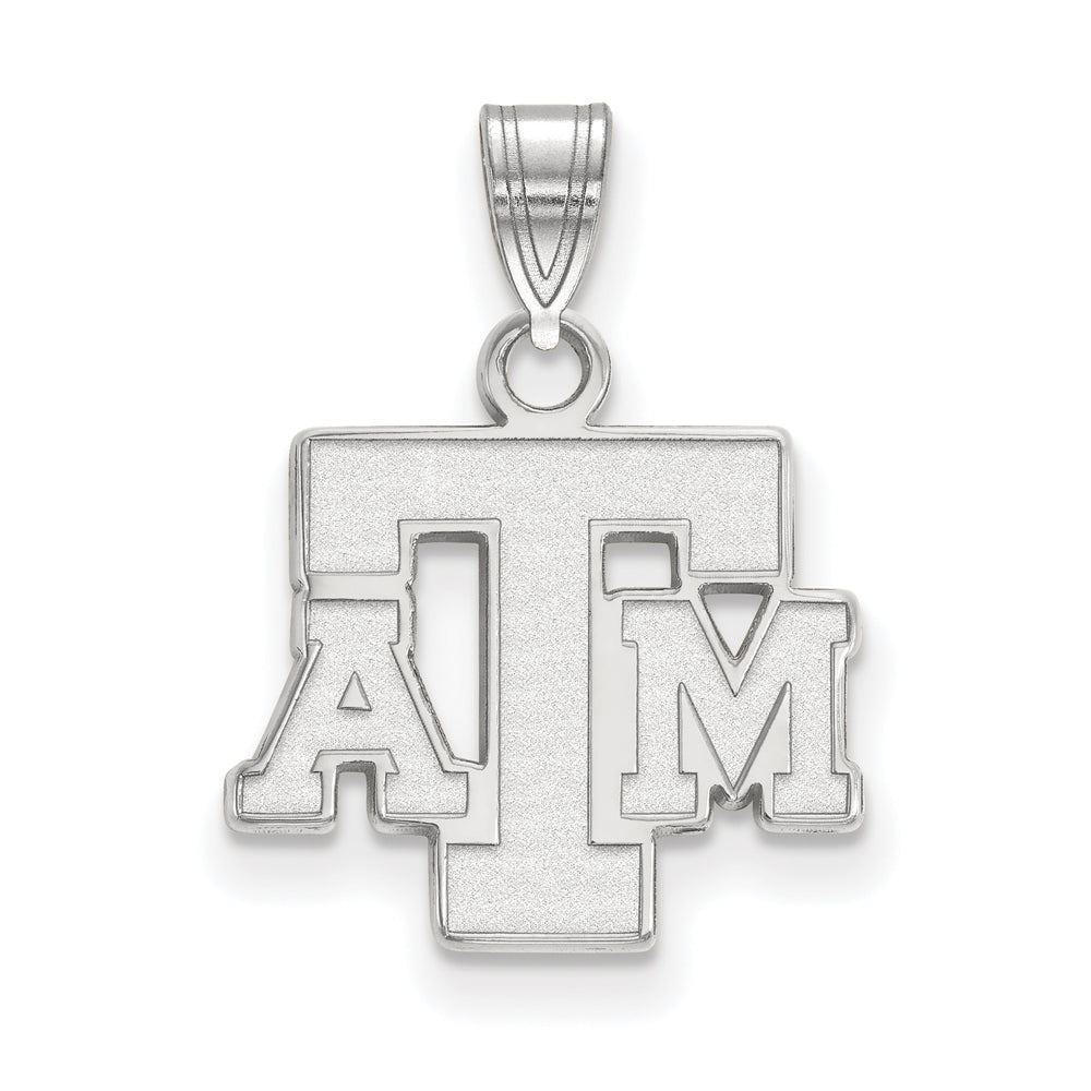NCAA 14k White Gold Texas A&M U. Small Pendant, Item P24320 by The Black Bow Jewelry Co.