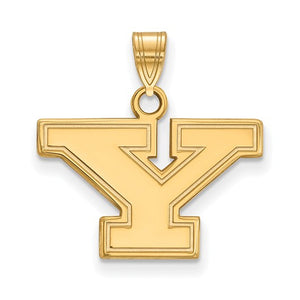 NCAA 14k Gold Plated Silver Youngstown State Small Pendant - The Black Bow Jewelry Co.