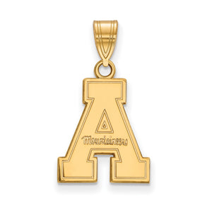 NCAA 14k Gold Plated Silver Appalachian State Medium Pendant - The Black Bow Jewelry Co.