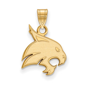 NCAA 14k Gold Plated Silver Texas State Medium Pendant - The Black Bow Jewelry Co.