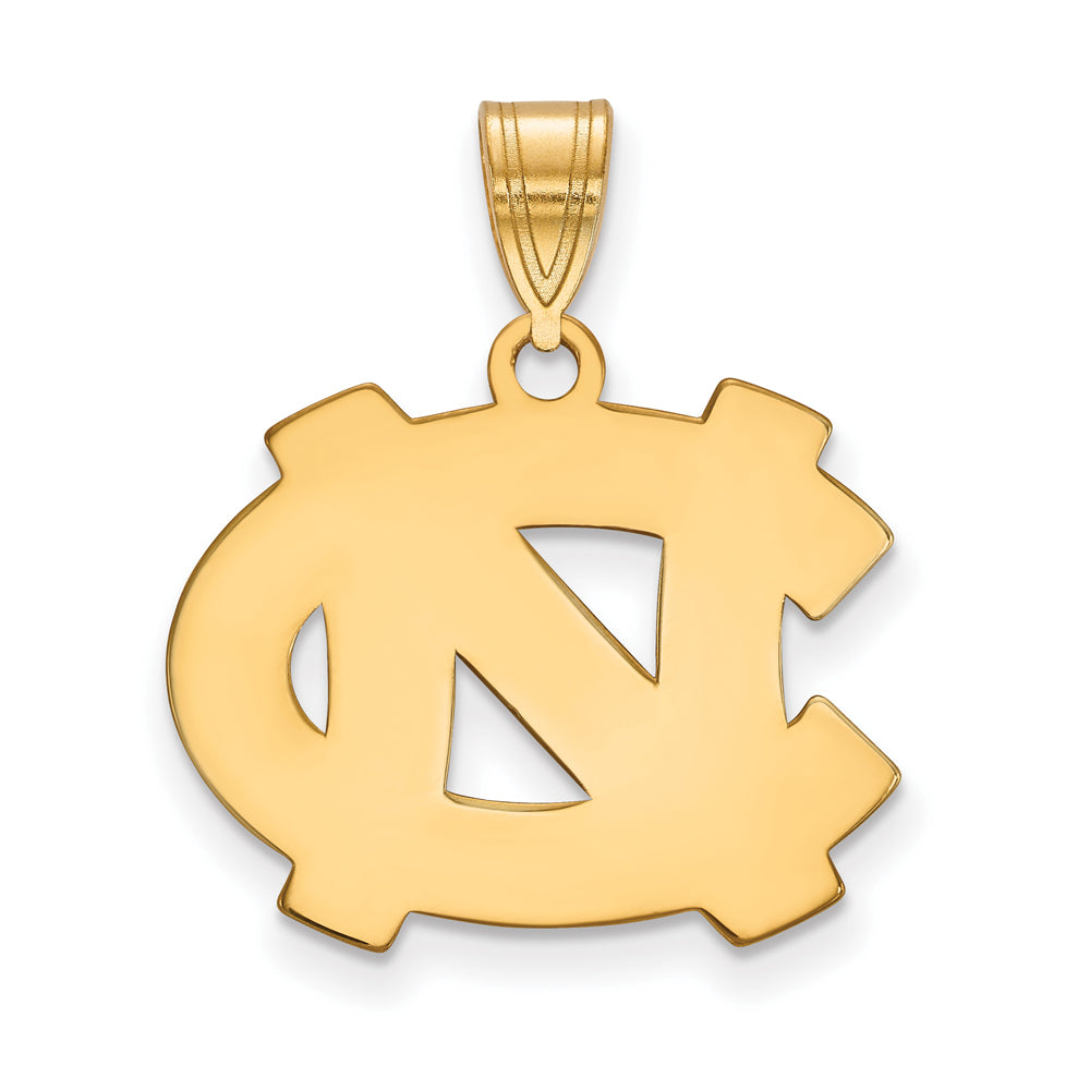 NCAA 14k Gold Plated Silver North Carolina Medium Pendant, Item P24674 by The Black Bow Jewelry Co.