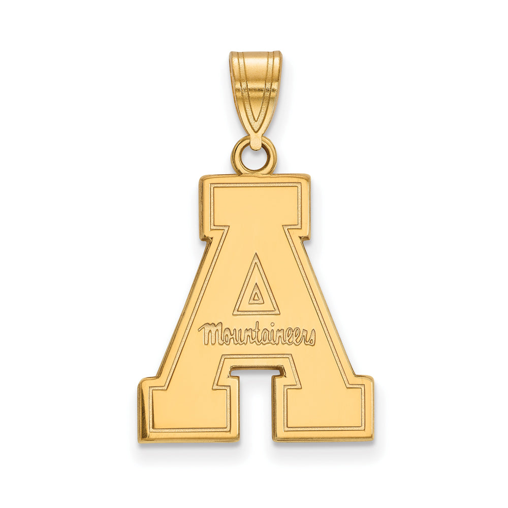 NCAA 14k Gold Plated Silver Appalachian State Large Pendant, Item P24701 by The Black Bow Jewelry Co.