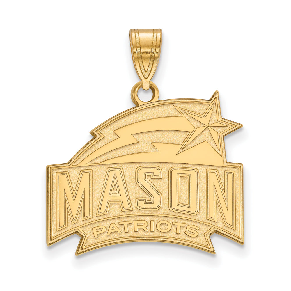 NCAA 14k Gold Plated Silver George Mason U Large Pendant, Item P24710 by The Black Bow Jewelry Co.
