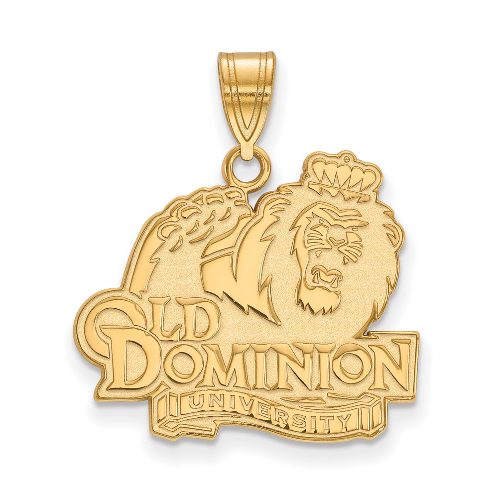 NCAA 14k Gold Plated Silver Old Dominion U. Large Pendant, Item P24718 by The Black Bow Jewelry Co.