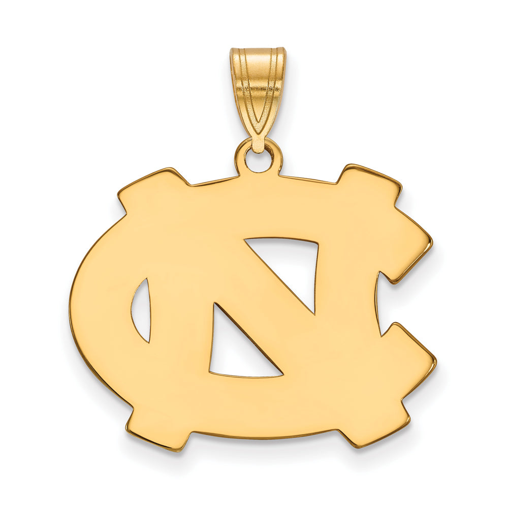NCAA 14k Gold Plated Silver North Carolina Large Pendant, Item P24738 by The Black Bow Jewelry Co.