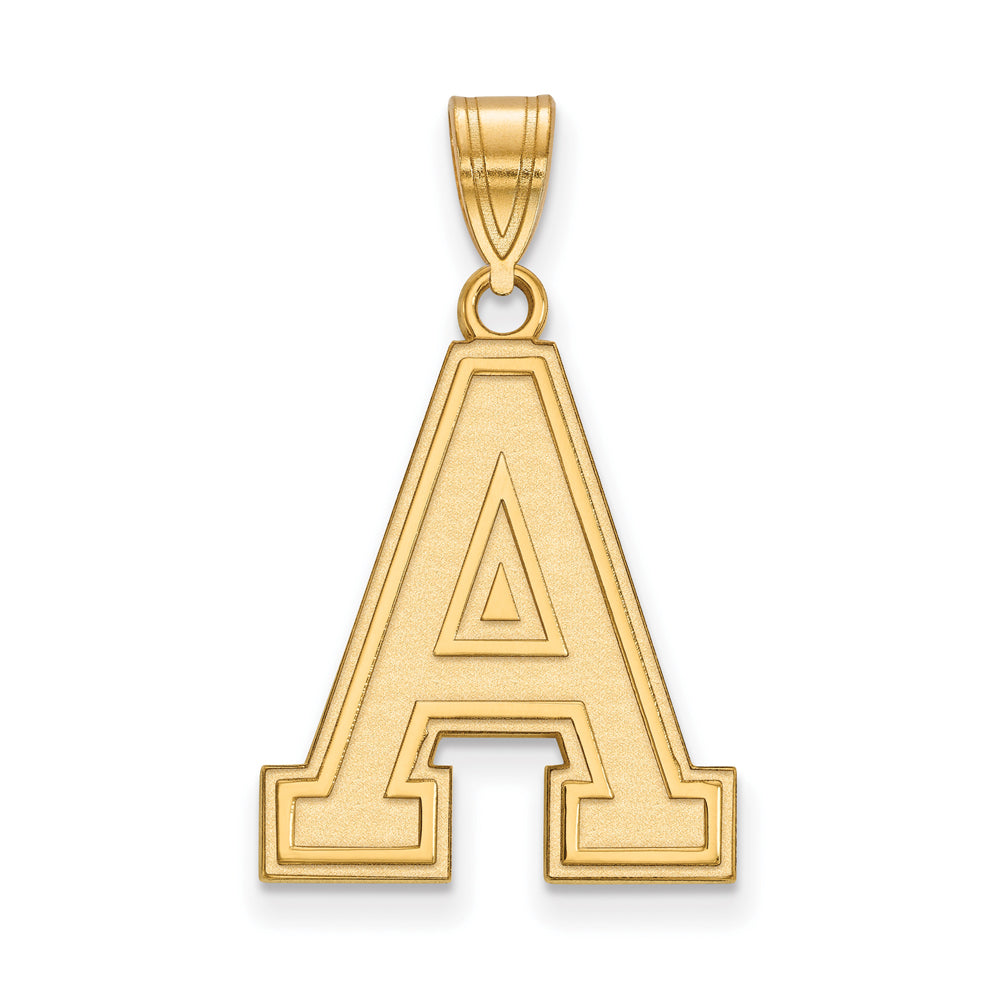 NCAA 14k Gold Plated Silver Military Academy Large Pendant, Item P24743 by The Black Bow Jewelry Co.