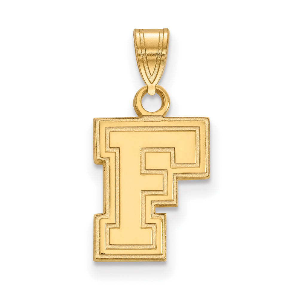 NCAA 14k Gold Plated Silver Fordham U Small Pendant, Item P24761 by The Black Bow Jewelry Co.