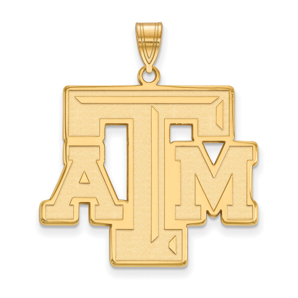 NCAA 14k Gold Plated Silver Texas A&M U. XL Pendant, Item P24771 by The Black Bow Jewelry Co.