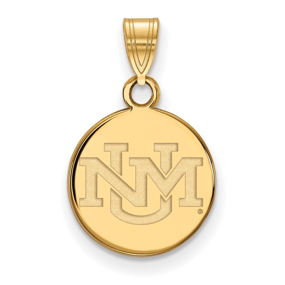NCAA 14k Gold Plated Silver U. of New Mexico Small Pendant, Item P24775 by The Black Bow Jewelry Co.