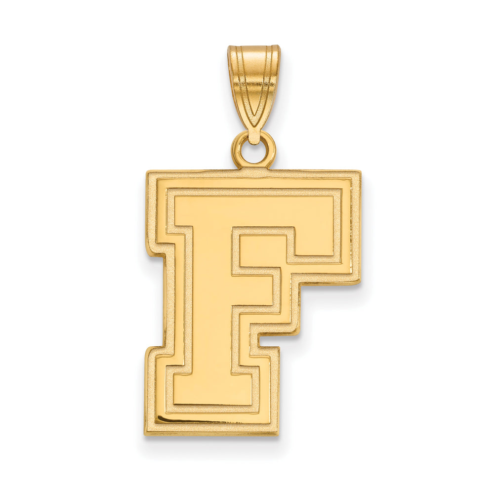 NCAA 14k Gold Plated Silver Fordham U Large Pendant, Item P24801 by The Black Bow Jewelry Co.