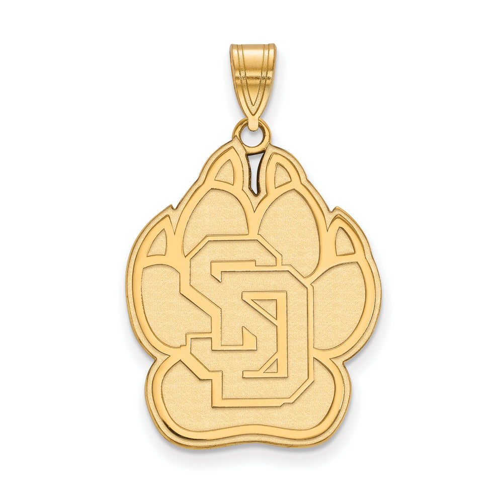 NCAA 14k Gold Plated Silver South Dakota XL Pendant, Item P24827 by The Black Bow Jewelry Co.