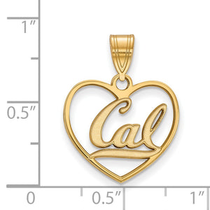Alternate view of the NCAA 14k Gold Plated Silver California Berkeley Pendant in H by The Black Bow Jewelry Co.