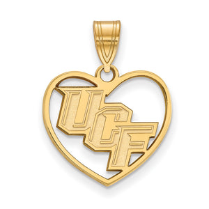NCAA 14k Gold Plated Silver Central Florida Heart Pendant - The Black Bow Jewelry Co.